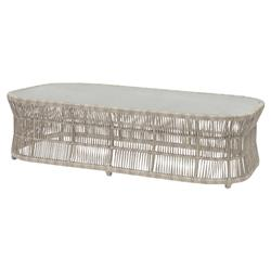 Palecek Loretta Coastal Beach Ceramic Woven Rectangular Outdoor Coffee Table