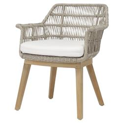 Palecek Loretta Coastal Beach Grey Woven Teak Wood Cushion Outdoor Arm Chair