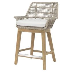 Palecek Loretta Coastal Beach Grey Woven Teak Wood Cushion Outdoor Counter Stool