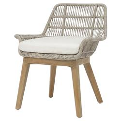 Palecek Loretta Coastal Beach Grey Woven Teak Wood Cushion Outdoor Side Chair