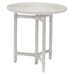 Palecek Monarch Coastal Beach White Wrapped Seagrass Rope Round Side End Table