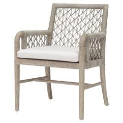 Palecek Montecito Coastal Beach Abaca Grey Woven Teak Wood Cushion Outdoor Arm Chair