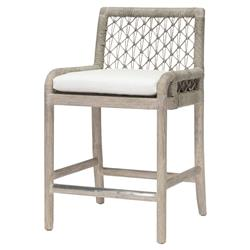Palecek Montecito Coastal Beach Abaca Grey Woven Teak Wood Cushion Outdoor Counter Stool