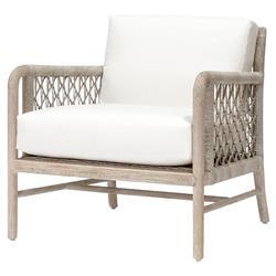 Palecek Montecito Coastal Beach Abaca Grey Woven Teak Wood Cushion Outdoor Lounge Chair