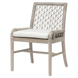 Palecek Montecito Coastal Beach Abaca Grey Woven Teak Wood Cushion Outdoor Side Chair