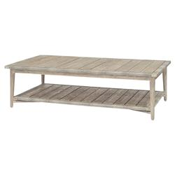 Palecek Montecito Coastal Beach Abaca Grey Woven Teak Wood Rectangular Outdoor Coffee Table