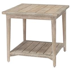 Palecek Montecito Coastal Beach Abaca Grey Woven Teak Wood Square Outdoor Side End Table
