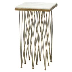 Palecek Naxos Modern White Marble Antique Gold Wrought Iron Square Side End Table