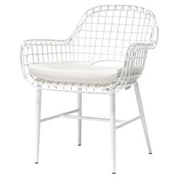 Palecek Olsen Coastal Beach White Aluminum Outdoor Arm Chair