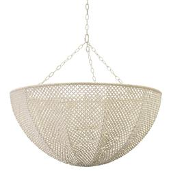 Palecek Quinn Coastal Beach White Wood Coco Beaded Inverted Dome Chandelier