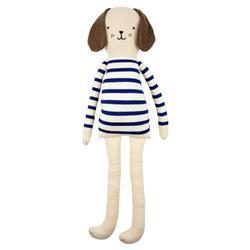 Meri Meri Russell Modern Blue Striped Knitted Cotton Dog Toy