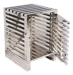 Zazenne Modern Metal Slats Masculine Side End Table | HS-LU458