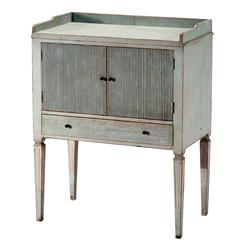 Lorelei Spindle Leg French Country Blue Gray Wash Side Table | HS-SW36-B