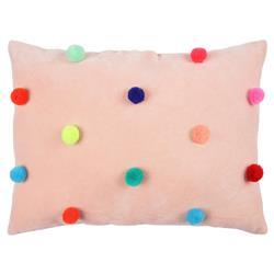 Meri Meri Modern Cotton Velvet Peach Pompom Cushion