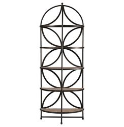 Madison Iron Quatrefoil Demilune Oak Display Bookcase | SCH-240215