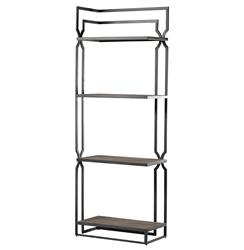 Sheldon Geometric Trellis Modern Corner Display Bookcase