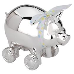 Reed & Barton Modern Classic Silver-Plated Piggy Bank With Wheels