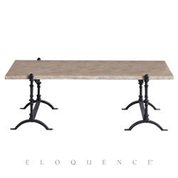 Eloquence French Country Style St. Remy Farmhouse Oak Wood Black Steel Coffee Table