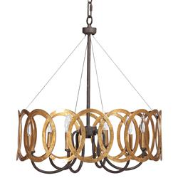 Virginia Hollywood Regency Gold Interlocking Circle Chandelier