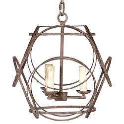 Ellis Geometric Rustic Black Iron 3 Light Chandelier
