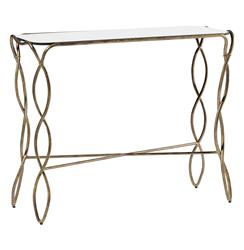 Bishop Elegant Twisted Antique Gold Console Table