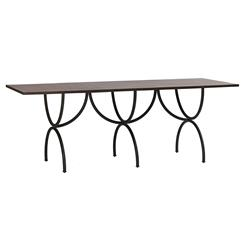 Peyton Elegant Oak Top Rustic Iron Frame Dining Table | SCH-240220