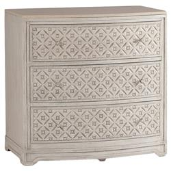 Pamela Antique White Diamond 3 Drawer Marble Wood Dresser | SCH-240355