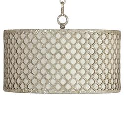 Venice Industrial Loft Antique Silver Lattice Neutral Linen Pendant