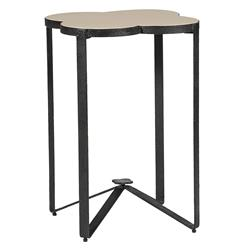Cynthia Quatrefoil Limestone Iron Accent End Table