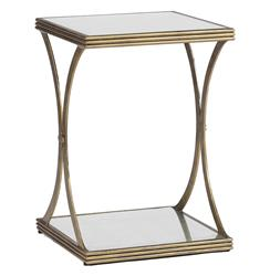 Felicia Antique Gold Iron Eglomise Square Side Table