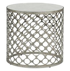 Taylor Antique Mirrored Top Geometric Industrial Side End Table
