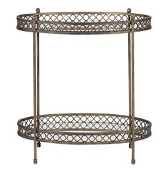 Kendall Oval Two Tier Antique Mirror Serving Side Table