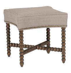 Modena Tufted French Linen Rustic Wood Seating Bench