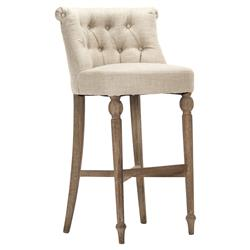 Amelie French Country Beige Linen Tufted Wood Bar Stool