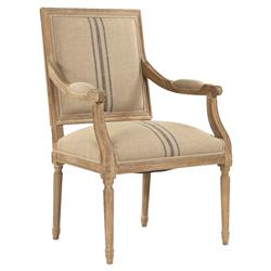 Lester French Country Blue Stripe Khaki Wood Arm Chair