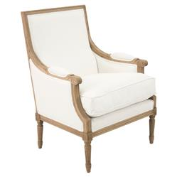 Lester French Country White Cotton Cushion Wood Club Arm Chair