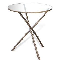 Modern Antique Brass Metal Twig Side End Table | 128040