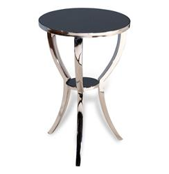 Finn Modern Polished Silver Granite Top Round Side Table | 128041