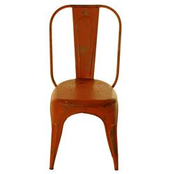 French Iron Rustic Orange Cafe Chair | BOT-INDJH044RED