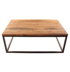 Solid Chunky Reclaimed Elm Wood Large Coffee Table