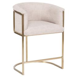 Vanguard Skye Beige Upholstered Brass Counter Stool