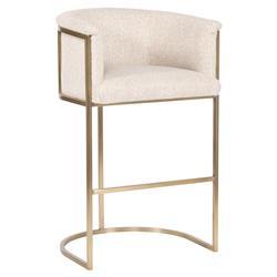 Vanguard Skye Modern Classic White Upholstered Brass Bar Stool