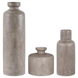 Rene Coastal Beach Slate Grey Concrete Outdoor Vases - Set of 3