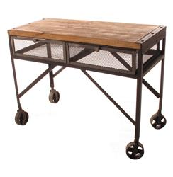 Tribeca Industrial Mesh Drawer Caster Wheel Console Table