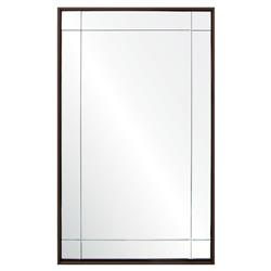Sinatra Modern Brown Walnut Floated 9 Panel Rectangle Wall Mirror