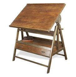 Draftsman's Industrial Loft Wood Iron Desk Table | BOT-INDJG003
