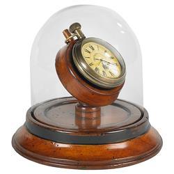 Manuel Modern Classic Cherry Wood Glass Dome Victorian Brass Clock