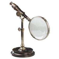 Andrew Modern Antique Bronze Brown Stand Magnifying Glass Object