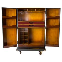 Sylvia Modern Classic Bronze Detail Black Wood Wine Bar Cabinet