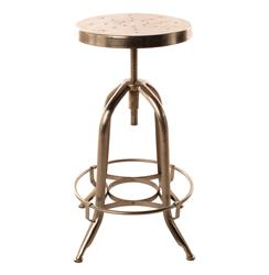 Architect's Industrial Iron Nickel Counter Bar Swivel Stool